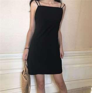 Black Coloured Square Neck Designed Spaghetti Straps Dress