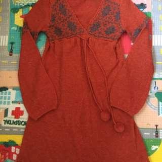 橙紅色衫裙