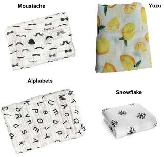 (E) Muslin towel baby cotton cloth napkin swaddling newborn cotton gauze