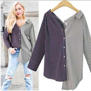 Plus Size Long Sleeve Stripe Blouse