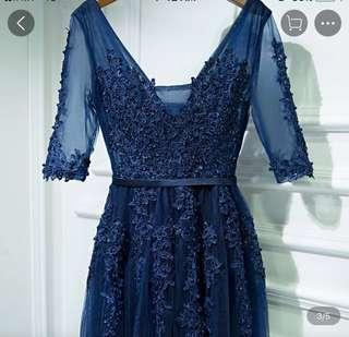 Brand new dark blue evening gown