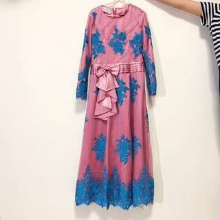 KIDS : Pink and blue maxi long sleeve dress with lace