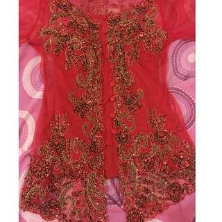 Kebaya merah + long torso 1x pake