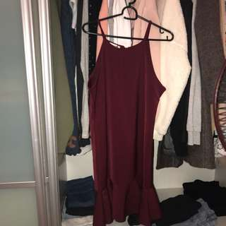 Wine red flare dress