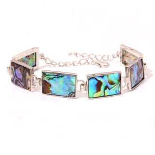 Iridescent shell bracelet 18k white gold plated