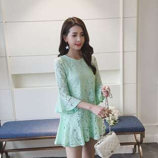 Pastel Coloured Floral Lace Bell Sleeves Designed Babydoll Dress