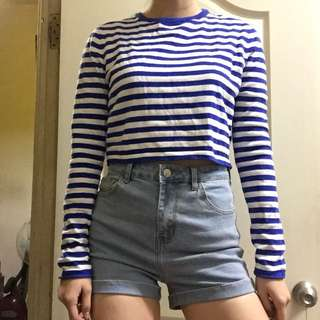 歐美淺藍高腰短褲