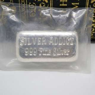 1oz Yeager's Poured Silver Silver Addict Bar
