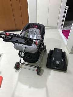 Peg-Perego Car Seat with Snap-N-Go stroller frame