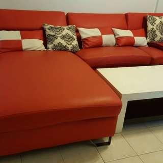L Shape Sofa Red pvc leather sofa