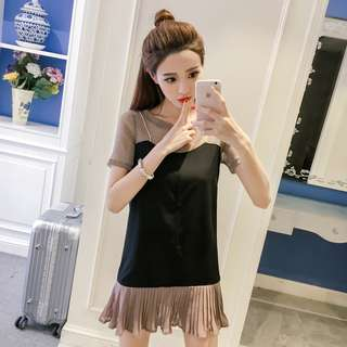 Two Coloured Blend Pleated Ruffled Trendy Dress