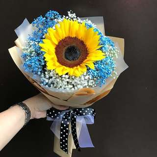 Sunflower with blue and white Baby Breath Bouquet