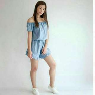 Clearance Sale! Off Shoulder Chambray Romper
