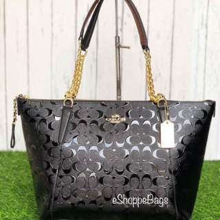Coach Debossed Patent Leather Chain bag
