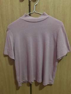 Pink High Neck Top