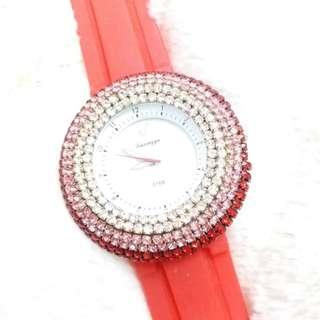 "red ""swarovski"" crystal blink blink watch 閃閃水晶手錶"