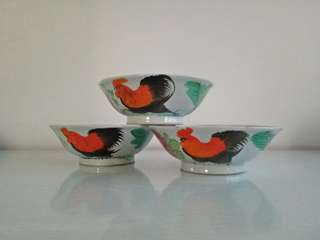 Original 50s 🐓 soup bowl height 6cm diameter 17cm mint condition unused 3pcs $35