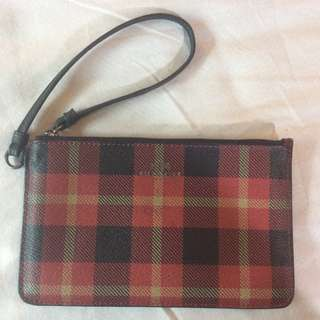 New Coach Riley Plaid Phone Wristlet Wallet Clutch