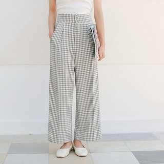 Checkered Plaid Lattice Pockets Designed Wide Legs Culottes Pants