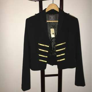 [BN] Forever 21 Black Military Jacket with Gold Accents