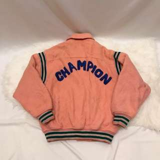 Vintage 粉橘毛呢棒球外套