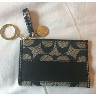 New Coach Signature Stripe Mini Skinny Card Wallet Coin Purse