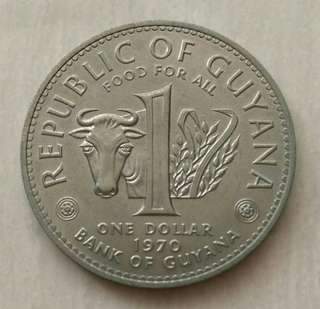 Guyana 1970 Dollar Unc Coin.Diameter 35.5mm