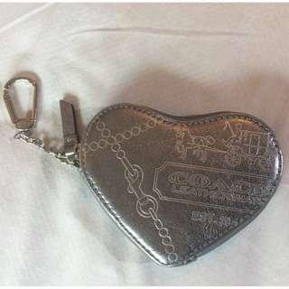 New Coach Heart Key Charm Coin Purse SILVER