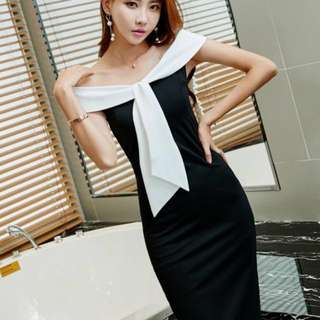 PO : Sizes Available From S To XL. Super Classy And Chic Korean Style Back Middle Slit Off Shoulder Black And White Bodycon/Body Hugging/Sheath Midi/Mid Length Dress