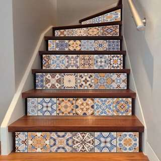 6pcs Geometric Style Wall/Stair Stickers (self adhesive)