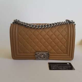 Authentic CHANEL dark gold old medium BOY bag