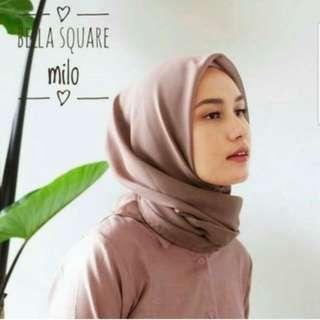12 Warna Jilbab segi empat bella square