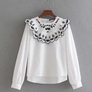 🔥Neckline Embroided lotus leaf edge Shirt