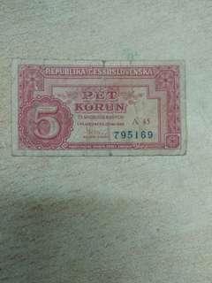Czechslovakia 5 korun 1949