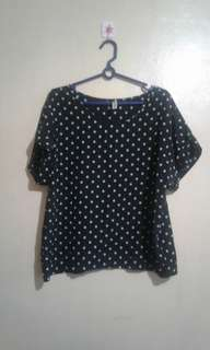 Blouse with polka dots
