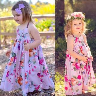 Girls Floral Print sleeveless Dress Summer