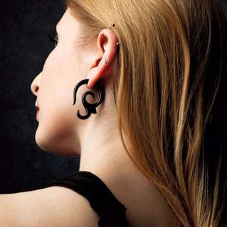Girl with the Dragon Tattoo Tribal Style Fake Gauge Earrings