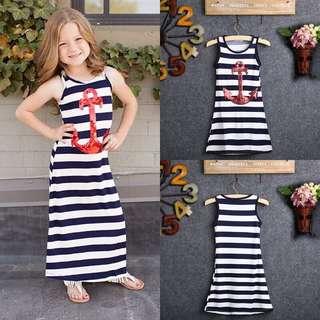 Navy Blue Kids Girl red sequins AnchorMaxi stripes dress