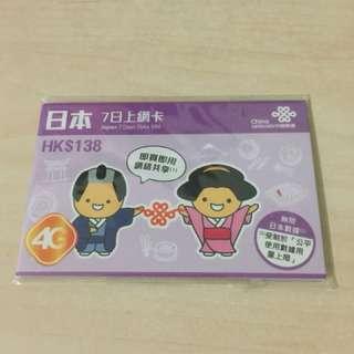 Japan seven days SIM card