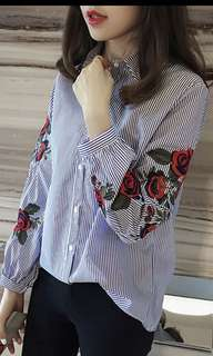 Casual Floral Long Sleeves Top