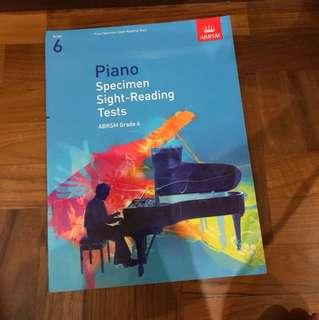 Piano Specimen Sight Reading Tests - Grade 6