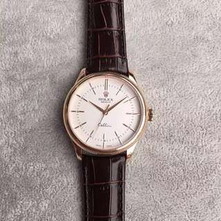 Rolex Cellini 50505 Series 18k Rose Gold White Automatic