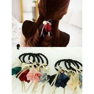 韓款 春季 布質 喇叭花大珍珠絲帶頭飾