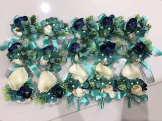 Full Set of Artificial Flower Boutonnieres and Corsages (Nautical / Tiffany theme)