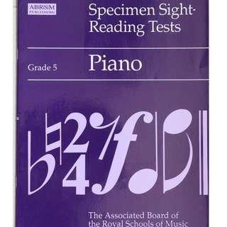 Music book :  Specimen Sight - Reading Tests ( Grade 5)