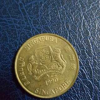 SINGAPORE 25TH ANNIVERSARY 5 DOLLARS COIN 1990