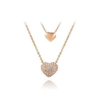 雙心形18k金吊墜/Double heart-shaped 18k gold pendant