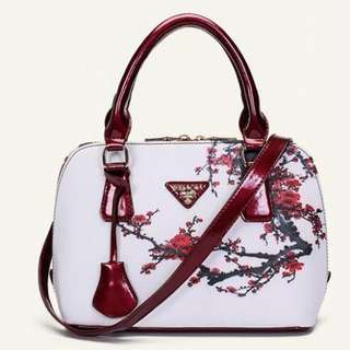 Women Flower Print Elegant Satchel Handbag Shoulder Tote Messenger Crossbody Bag