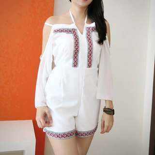 Romper jumpsuit tribal white playsuit putih