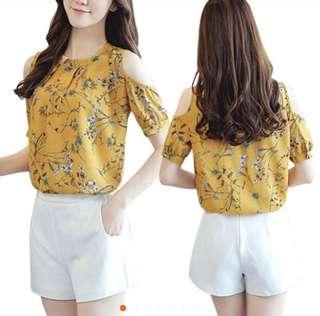 Flower Elegant cold shoulder chiffon blouse (plus size)